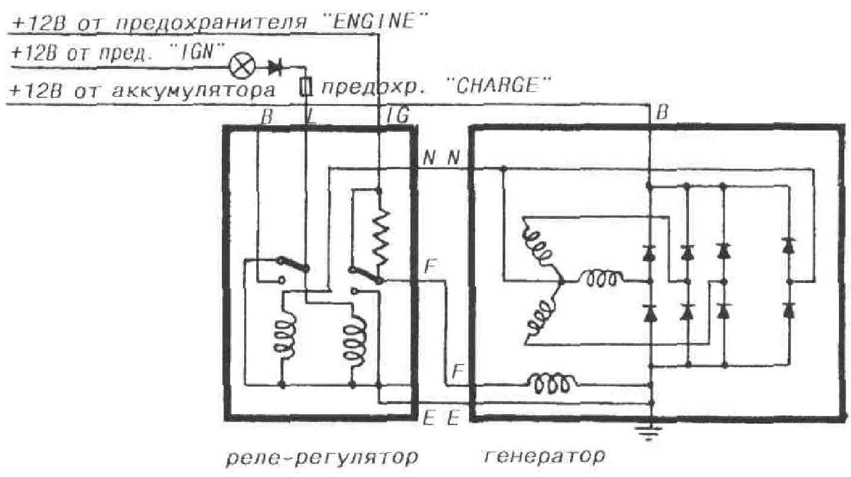 реле напряжения генератора схема