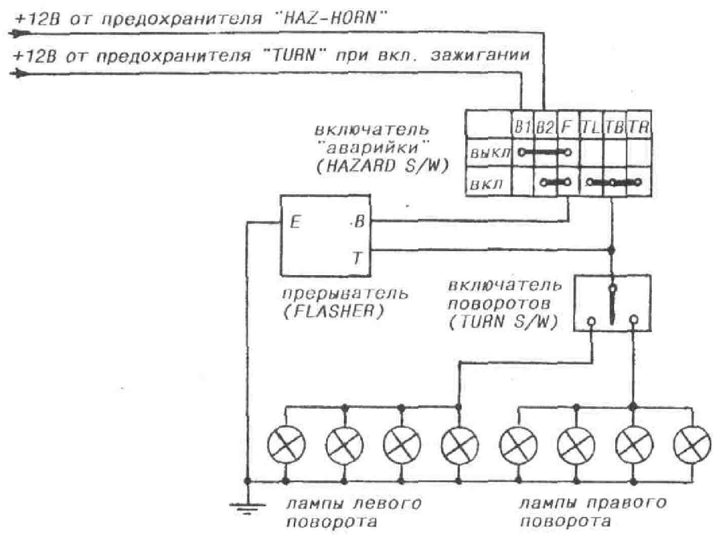схема подсоединения реле поворотов паз