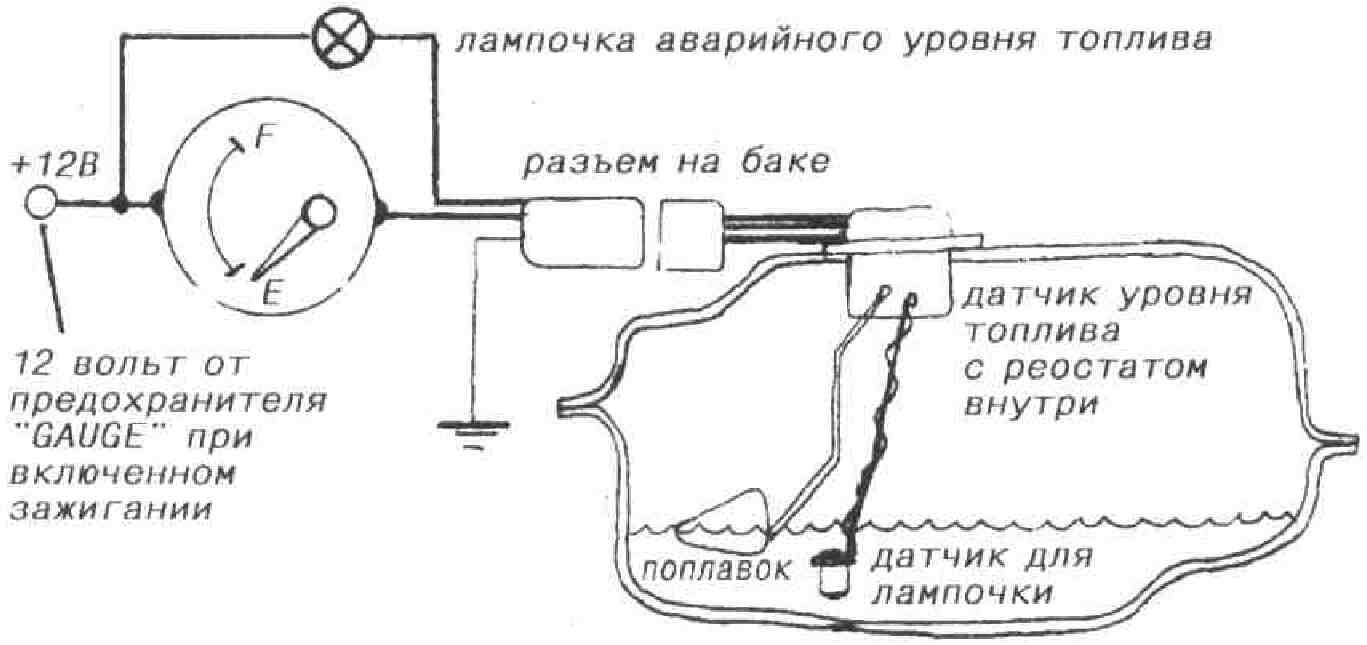 схема подключения указателя уровня топлива на ваз2101